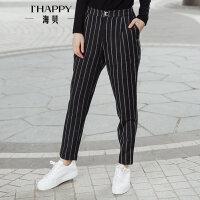 海贝2017冬装新款女 时尚百搭条纹休闲裤长裤