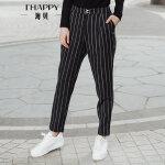 海贝 2017冬装新款女 时尚百搭条纹休闲裤长裤