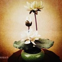 中式花艺仿真花套装供佛荷花莲花假花摆件禅意艺术插花佛堂摆件
