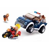 兼容积木拼插儿童玩具男孩拼装积木警察巡逻车