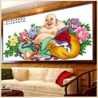 十字绣成品客厅弥勒佛罗大肚佛像系列笑口常开竹子版