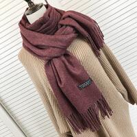 围巾女秋季纯色仿羊绒流苏加厚长款百搭两用学生保暖大披肩 豆沙色 加厚款