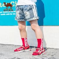 骆驼童鞋男童凉鞋2019新款老爹鞋子露趾中大童小孩软底运动沙滩鞋