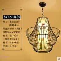 新中式鸟笼仿古吊灯创意个性铁艺灯笼阳台酒店茶楼馆过道餐厅灯具
