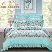 【年货直降】富安娜家纺 馨而乐甜蜜清新碎花床上用品四件套 全棉舒适床单被罩