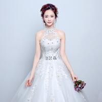 婚纱礼服2018新款新娘齐地韩式挂脖结婚公主梦幻蓬蓬裙修身显瘦春 白色