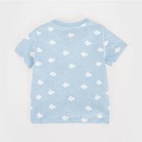 男婴迪士尼印花贴布绣上衣 夏季卡通图案短袖T恤