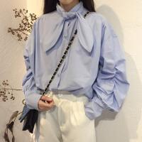 时尚学院风韩版秋冬新款chic领结中长款纯色泡泡袖百搭打底衬衫女