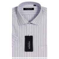 YOUNGOR雅戈尔 淡紫色白条纹 涤棉VP免烫短袖衬衫SXP6895