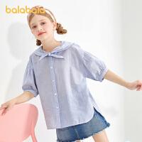 巴拉巴拉童装女童短袖衬衫儿童衬衣2021新款夏装中大童韩版时尚潮