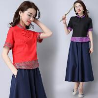 中国风女装上衣 春装 民族风中式复古唐装拼接改良女士短袖衬衫女