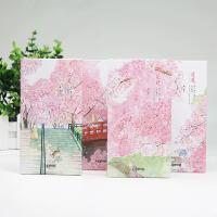 一路上遍地开花三折本创意樱花可爱厚口袋日记 随身记事本子