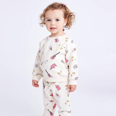 davebella戴维贝拉春秋季女宝宝印花休闲裤套装DB7021戴维贝拉 每周二上新  0-6岁品质童装