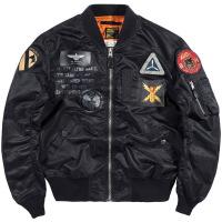 秋季ma-1飞行员夹克男大码工装外套韩版棒球服潮牌空军飞行服 黑色
