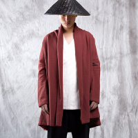 中国风男装复古风衣亚麻外套麻料大码禅服棉麻披风斗篷中式汉服潮