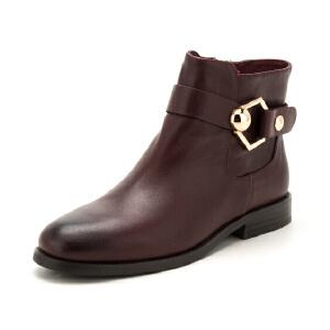 【星期六集团大牌日】St&Sat/星期六冬短靴女牛皮金属方跟短筒靴女靴子SS64117069
