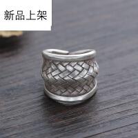 2018抖音网红新品925银戒指泰国复古手工银男女款编织宽版个性食指环