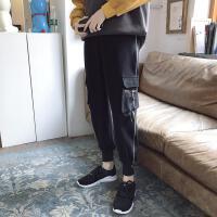 港风冬季帅气chic男士裤子韩版潮流运动裤学生哈伦裤加绒加厚长裤