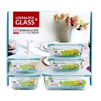 [当当自营]LOCK&LOCK乐扣 格拉斯耐热玻璃保鲜盒5件套LLG445S912