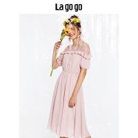 Lagogo2018秋新款粉色网纱拼接短袖连衣裙女高腰木耳边雪纺裙子夏HCLL356C36