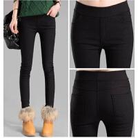 外穿打底裤春夏高腰紧身九分女裤子夏季学生弹力小脚薄款显瘦黑裤 黑色 前后袋