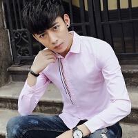 新款2018男士长袖男士个性长袖衬衫秋季男长袖衬衣青少年休闲潮流