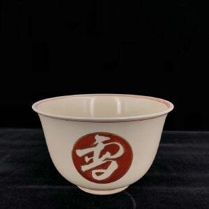 日本昭和时期雪月花瓷碗