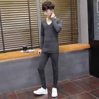 2018新款青少年白色保暖内衣学生V领秋衣秋裤男士冬天睡觉衣服裤子一套装