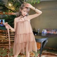夏装新款时尚甜美无袖网纱蓬蓬A字裙蛋糕裙连衣裙配腰带女