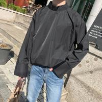 新款日系简约男士宽松长袖衬衫潮流时尚青年套头立领衬衣外搭秋季