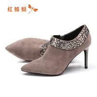 红蜻蜓女鞋2017秋季新款优雅羊绒细高跟鞋尖头亮钻窝窝鞋真皮鞋子