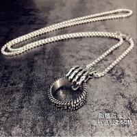 欧美嘻哈街头个性韩版毛衣链挂件骷髅手戒指项链男女潮牌时尚配饰 银色 钢骷髅指戒