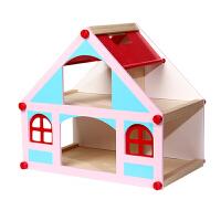 小女孩公主娃娃屋套装礼物儿童木制diy过家家玩具屋仿真房子别墅