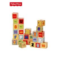 费雪26粒大颗粒木制积木2岁以上动物数字字母认知早教玩具儿童节礼物 26粒字母认知积木