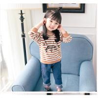 女童牛仔裤春秋2018新款012345周岁女宝宝卡通套装潮
