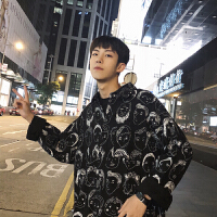 韩版卡通人头印花男士长袖衬衫港风潮流宽松衬衣寸衫2018夏季新款