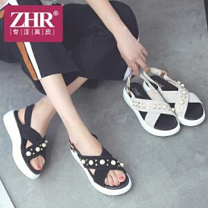 ZHR2018夏季新款韩版真皮凉鞋学生厚底松糕鞋珍珠平底一字带女鞋AH35