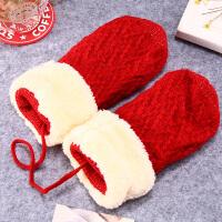 儿童手套 男童女童毛线针织加绒全指手套冬季新款韩版儿童时尚休闲舒适百搭配饰