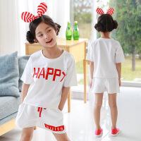2019 新品运动套装中大童韩版女童2件套T恤+短裤套装 白色