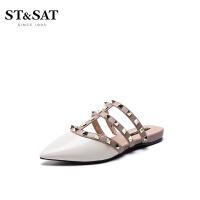 星期六(ST&SAT)女鞋2019年春季专柜同款漆面牛皮革/羊皮革拼接凉拖鞋SS91110038