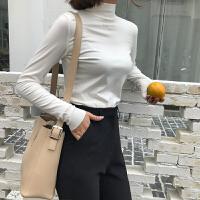 半高领刺绣字母打底衫女秋冬季内搭长袖修身chic上衣纯色紧身T恤