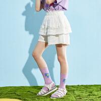 【2件3折:79】巴拉巴拉旗下女童纯棉短裤2020夏装新款儿童高腰热裤蕾丝裤子女