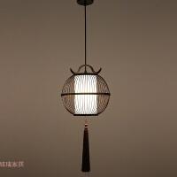仿古新中式餐厅茶室小吊灯禅意书房阳台鸟笼灯具创意竹艺灯笼灯饰
