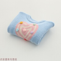 冬季女童毛衣 新款秋冬装韩版儿童宝宝印彩棒棒糖厚上衣秋冬新款 如图蓝色