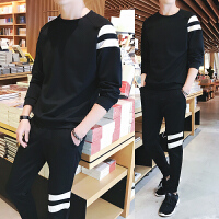 新品2018春季新款T恤长裤两件套圆领套头卫衣套装男士运动韩版