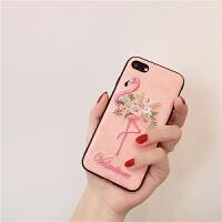 刺绣粉色火烈鸟苹果6s手机壳iphone8 7plus保护套女