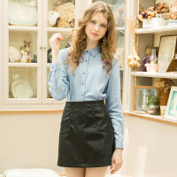 冬�b新品 高腰修身半身裙PU包臀裙小皮裙短裙D741076