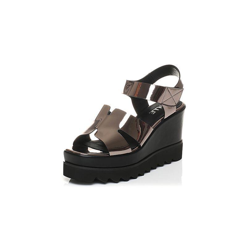 Belle/百丽2017夏专柜同款PU厚底松糕跟女凉鞋R1E1DBL7
