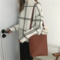 冬季韩版女装宽松格子半高领长袖针织衫上衣百搭复古套头毛衣外套