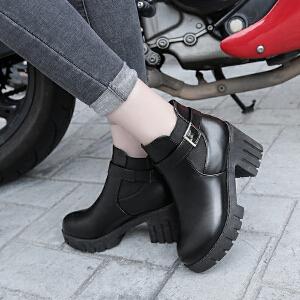 短靴女马丁靴女高跟靴子女单靴春秋2018新款英伦风机车靴女靴粗跟高跟工作靴子女317DTH